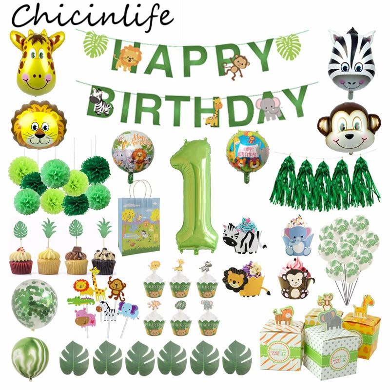 Chicinlife, decoración para fiestas de jungla, cupcakes, carteles, globos, bolsas de papel, caja de dulces, Safari salvaje, suministros para fiestas de 1 er cumpleaños