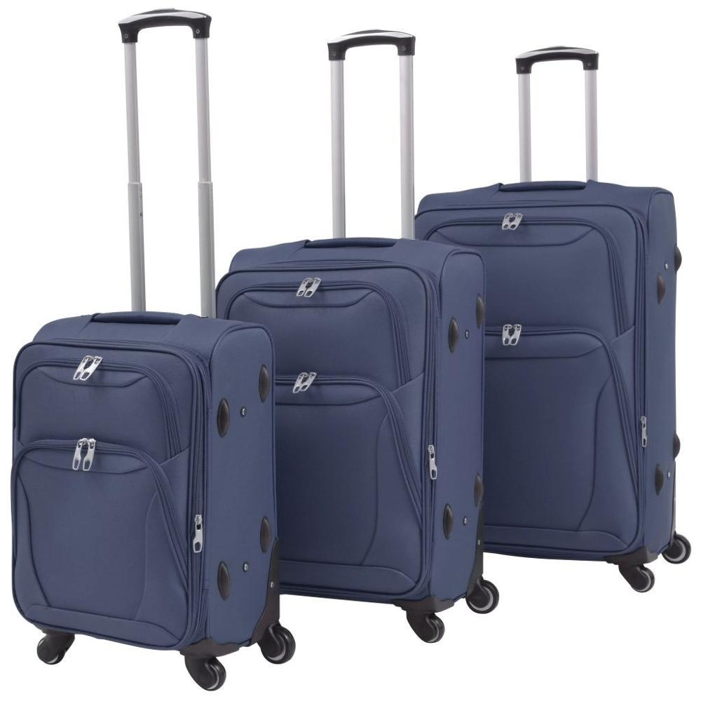 【USA Warehouse】3 Piece Soft Case Trolley Set Navy Blue
