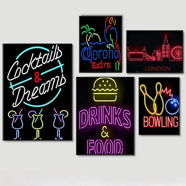 Fluorescent Bar Tin Sign Club Pub Vanvas Painting Plaque Colorful Cocktail Beer Bowling Metal Iron Plate Iron Paintin Home Decor
