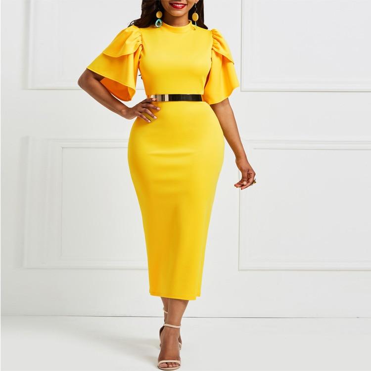 Elegante feminino plissado manga bodycon vestido amarelo azul roxo festa à noite vestidos de escritório senhora trabalho plus size midi vestidos longos