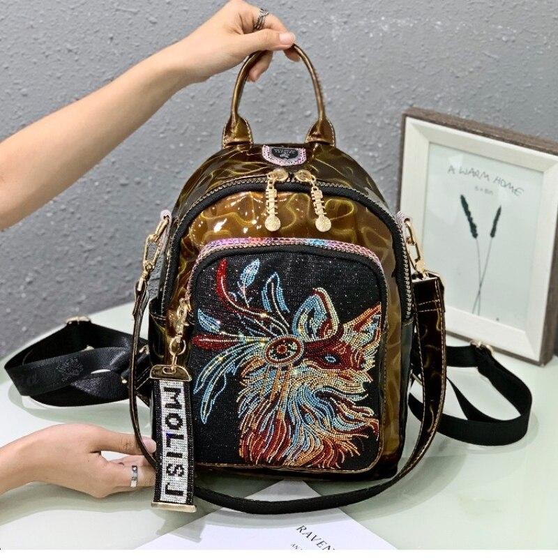 Animal Pirnts Women Multifunction Backpack Designer Luxury School Bag for Teenage Girls Rhinestone Travel Shoulder Mochila