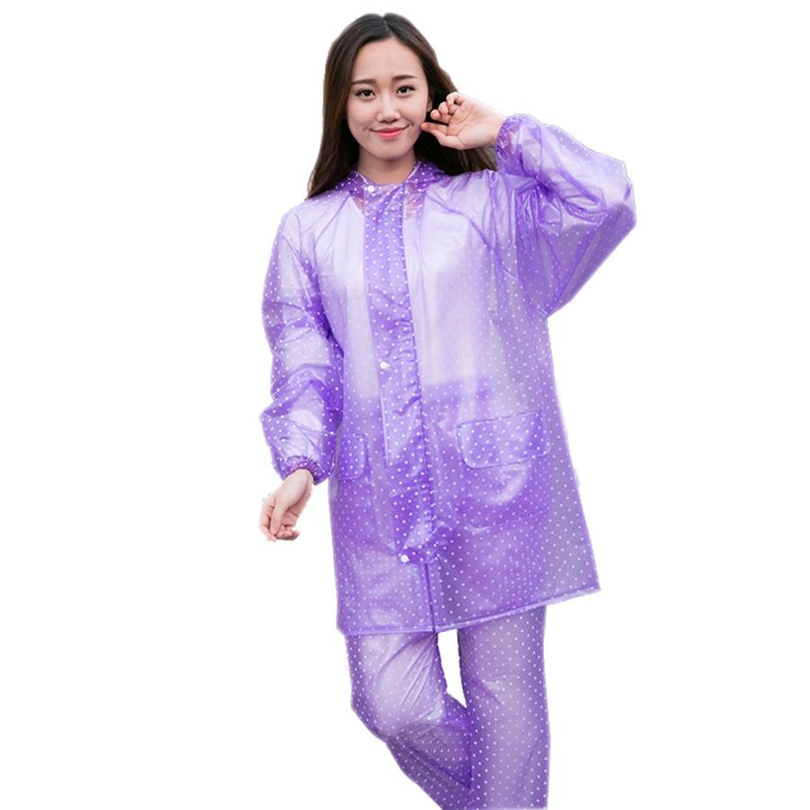 Impermeable largo de las señoras chaquetas de Pvc transparente de las señoras capa Chaqueta de Camping Chaqueta Impermeable de la Mujer Q