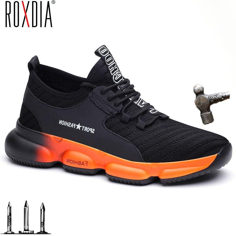 Roxdia moda masculina sapatos de segurança mulher trabalho tênis aço toe boné respirável sapato ao ar livre mais tamanho 36-48 nova marca rxm631