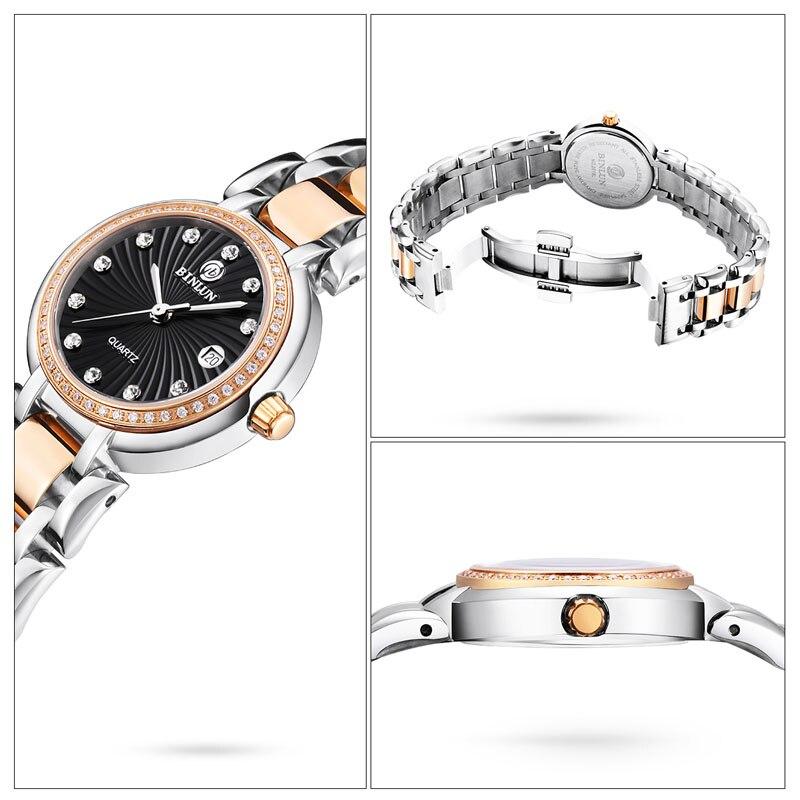 Hot sale BINLUN Women Watches Luxury Waterproof Diamond Dial for Ladies Elegant Couple Wrist Watches New Design rolexy_ Watches enlarge