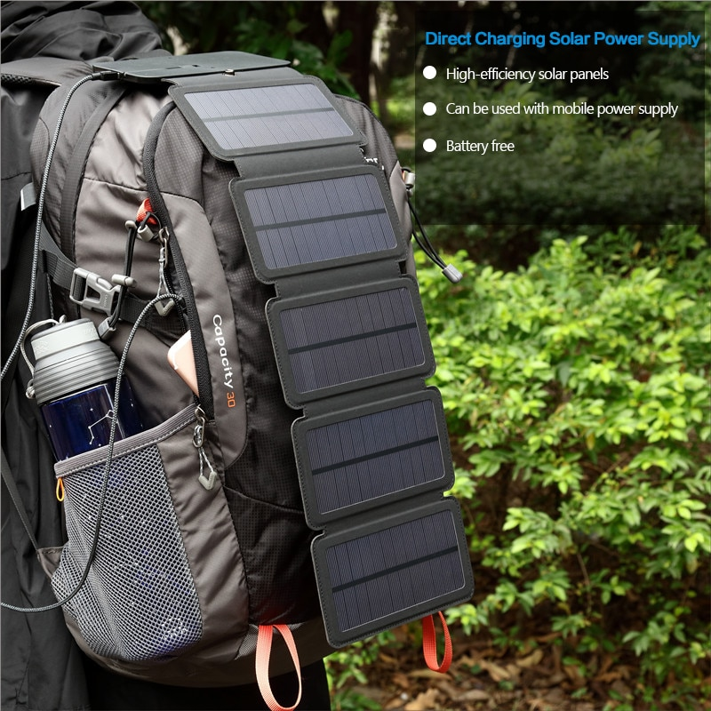10W الخلايا الشمسية شاحن للطي طوي للماء الشمسية شاحن 5V 2A سريع تهمة المحمولة الشمسية لوحة شاحن للهواتف الذكية