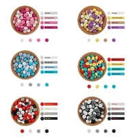 sunrony 100pc 14mm silicone abacus beads multi color lentil loose eco friendly bead diy pacifier chain nursing baby teether toys