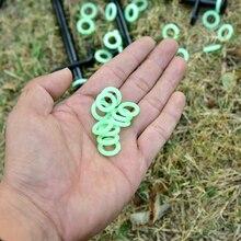 20 pièces en plein air multifonctionnel clou au sol fluorescent cercle lumineux silicone anneau camping tente ciel rideau anneau à ongles
