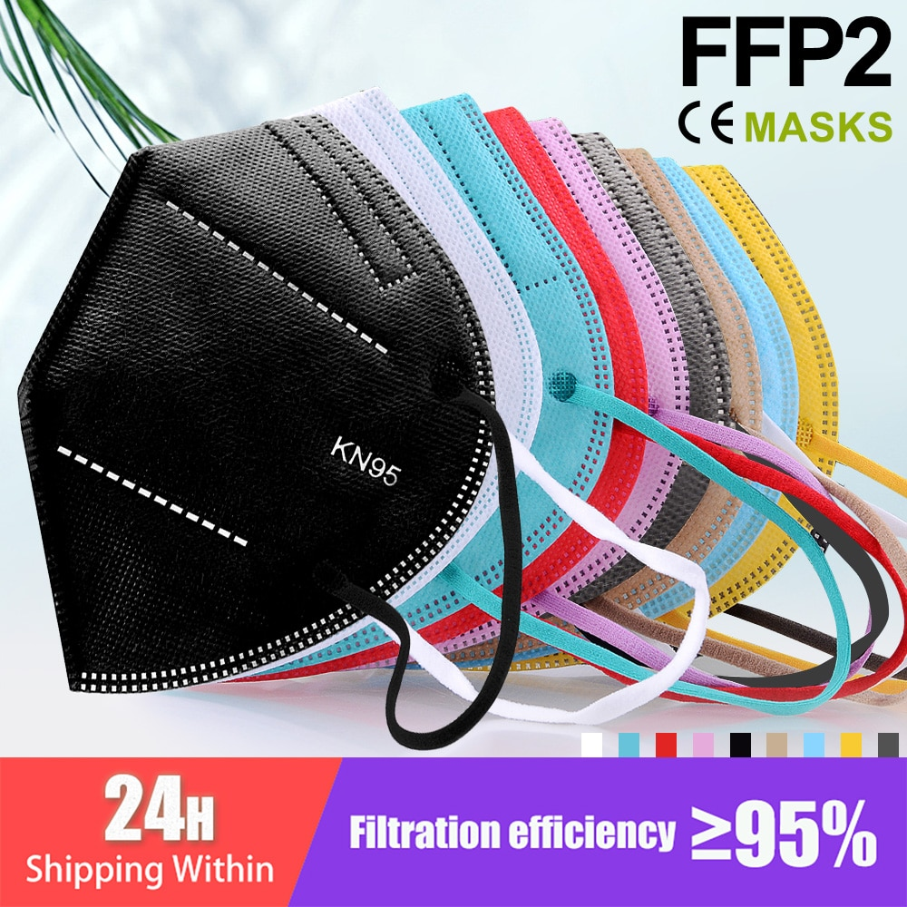 CE FFP2 KN95 Masks 5 Layers Filter Dust Mouth PM2.5 Fp2 Face Mask Flu Personal Protective Health Car