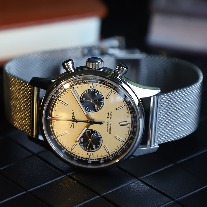 Sugess الفاخرة كرونوغراف الميكانيكية ساعة رجالي النورس حركة ST1901 40 مللي متر الياقوت شبكة حزام ساعات رجالي 2021 الطيار 1963