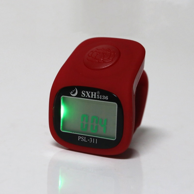 6 Digital Finger Tally Counter 8 Channels LED Backlight Time Prayer Silicone Ring Electronic Hand Counter