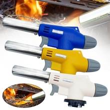 Metal Flame Gun Welding Gas Torch Lighter Heating Ignition Butane Portable Camping Cooking AutoIgnition Welding Torch Gas Burner