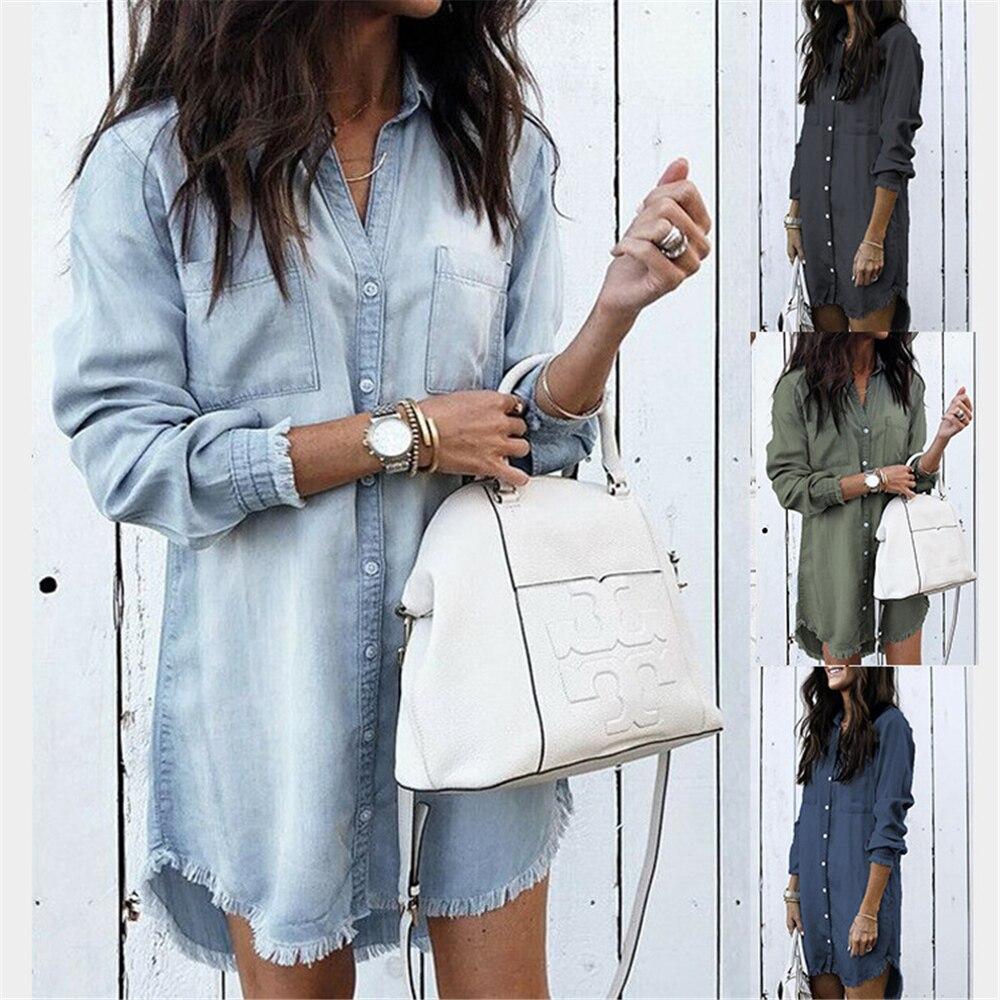 New 2020 Fashion Women Denim Shirt Vintage Blue Jean Blouses Casual Long Sleeve Ladies Tops Blouse F