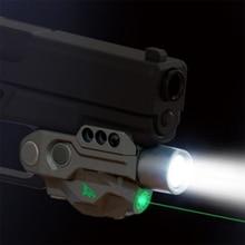 Laserspeed High Lumen Constant/Strobe Fleshlight with Green Laser Sight for Glock 17 18 19 1911 Picatinny Pistol Weapon Light