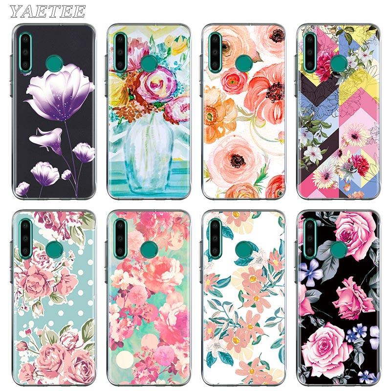 Funda de teléfono negra Rosa rojo flores para Huawei Honor 10 10i 20 Lite 20S 30 Pro + 9A 9S 9C 9X 8A Prime 8X TPU suave
