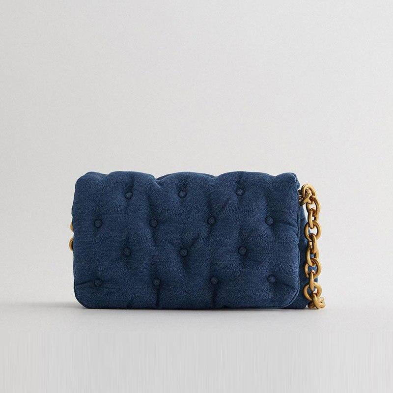 Retro Blue Denim Quilted Women Shoulder Messenger Crossbody Bags Luxury Designer Thick Gold Chains Handbags Lady Purses Female