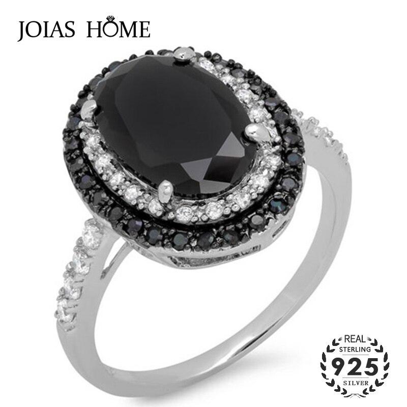 JoiasHome klasyczne srebro 925 pierścionki dla uroku pani z czarnymi okrągłymi kamieniami szlachetnymi kobiet biżuterii wesele prezenty hurtowych