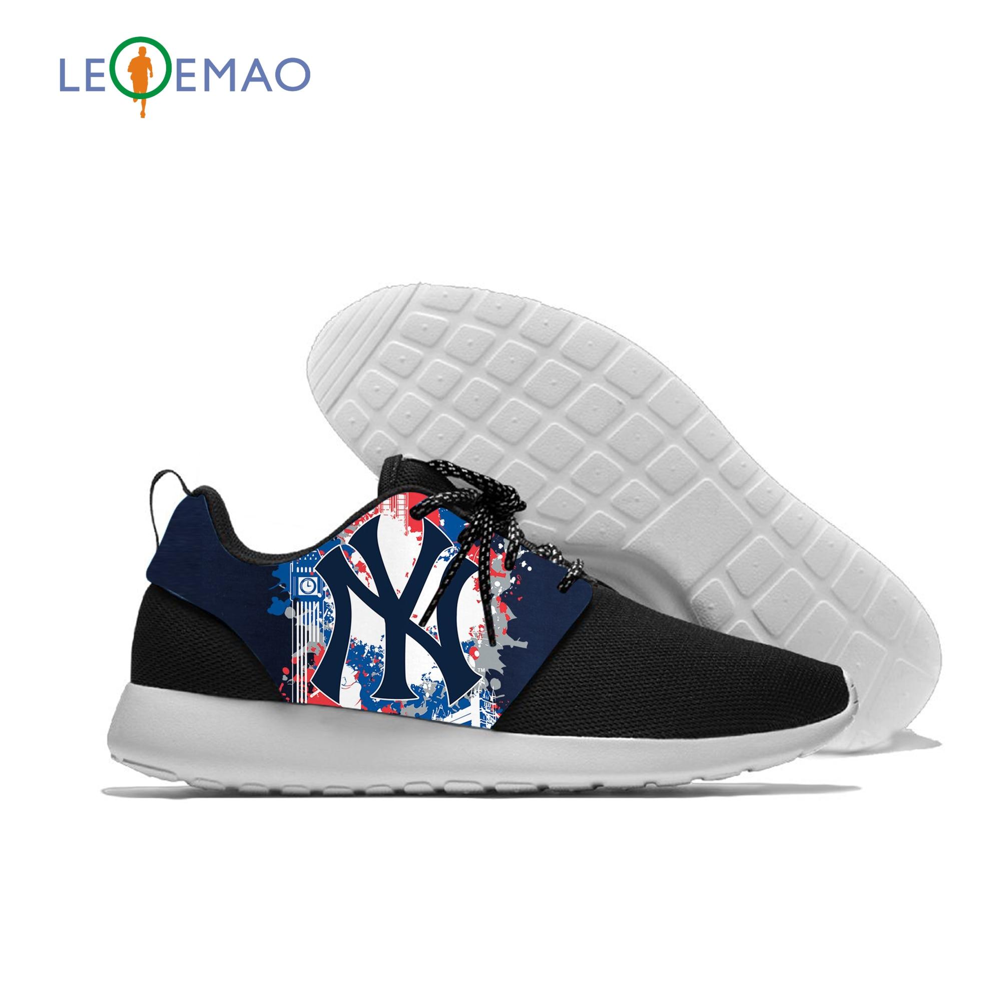 Sapatos de verão respirável dos homens do logotipo dos yankees sapatos casuais dos homens modas de malha masculina tênis para os fãs de nova york