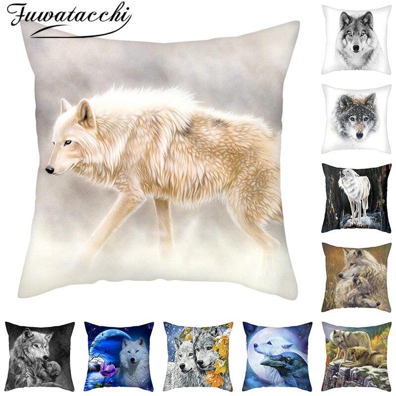 Fuwatacchi, funda de almohada con estampado de animales lobos salvajes, funda de...