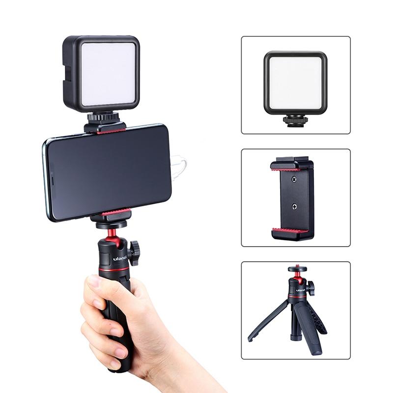 Ulanzi vlog viver stream kit youtube kit mini tripé de montagem do telefone registro microfone kit estender tripé tiro vertical