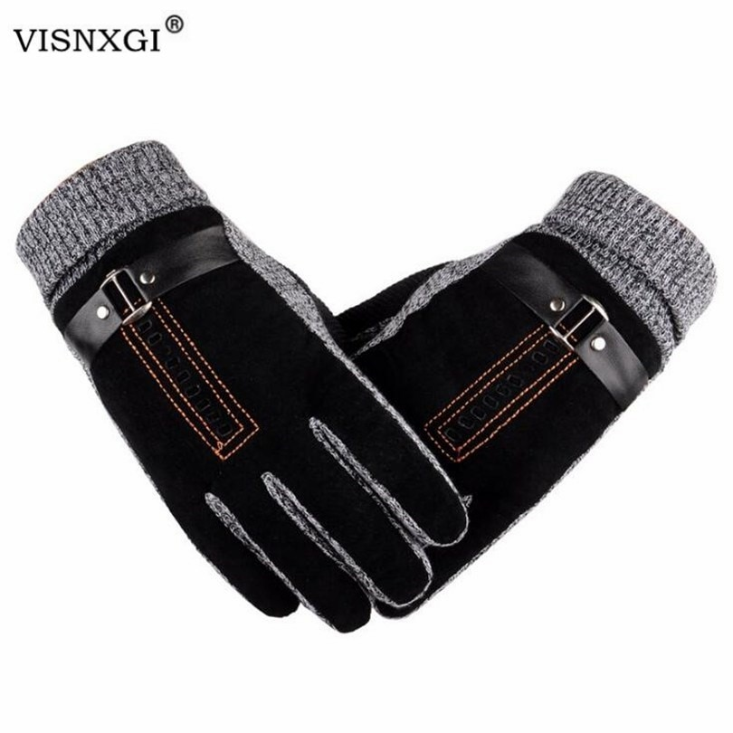 VISNXGI Men Winter Gloves Touched Screen Leather Guantes PU Patchwork Thick Driving Gloves Male Moto
