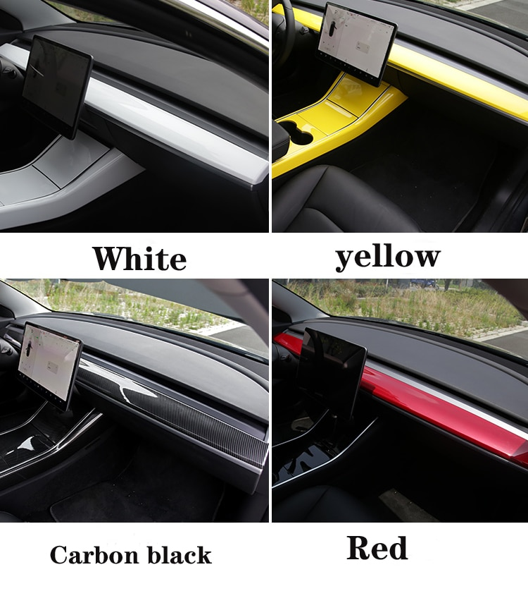 Heenvn ModelY Model3 Car Center Console Trim For Tesla Model 3 Carbon Fibre ABS Accessories For Tesla Model Y Three Protection