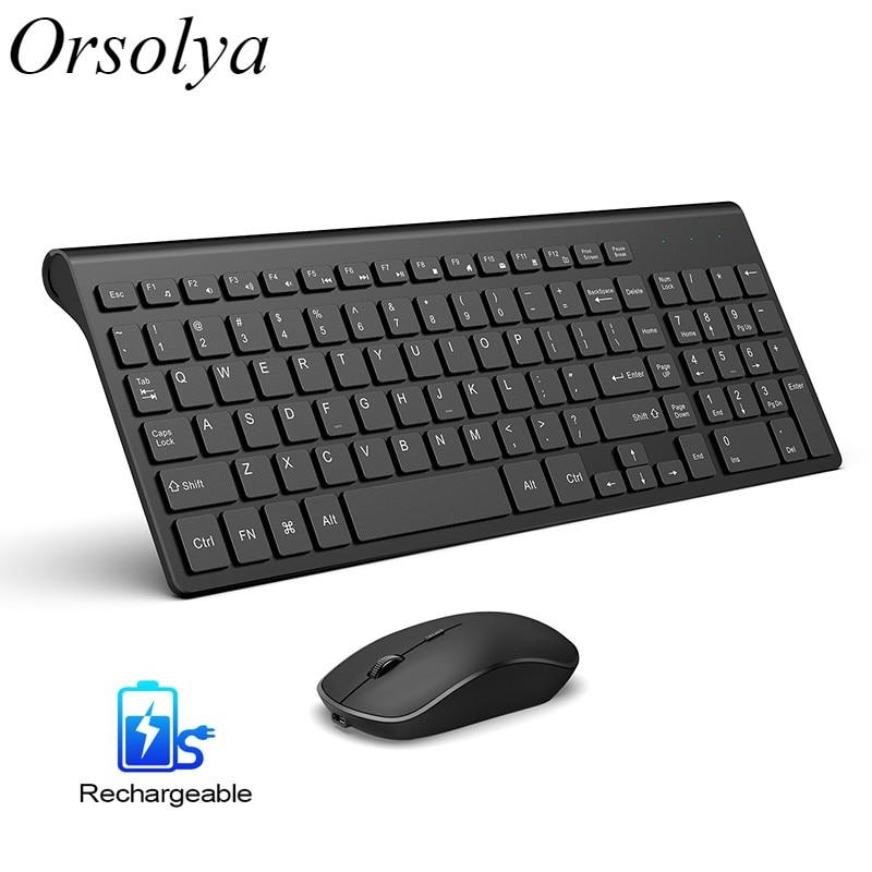 2.4g teclado sem fio recarregável mouse combinação conjunto espanhol/alemão/italiano/eua teclado e 2400 dpi ratos, para computador portátil