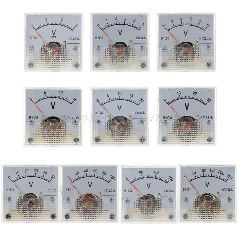 91C4 DC Voltímetro analógico Panel medidor de voltaje mecánico puntero tipo 3/5/10/15/20/30/50/100/150/250V O01 19 Dropship