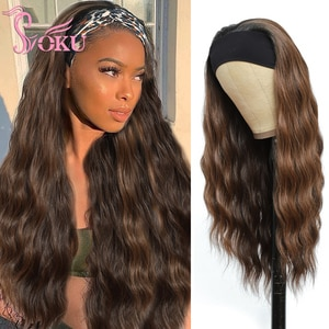 Headband Wig Natural Wave Hair For Black Women Long Wavy Brown Red Wigs Heat Resistant Soku Full Machine Glueless Synthetic Wigs