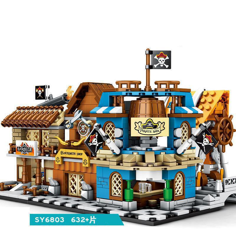 2020 nueva ciudad de los piratas Street View modelo de bloques de construcción Compatible con todas las marcas ladrillos juguetes para niños SY6803