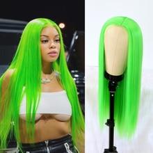 Parrucche di pizzo parrucche lunghe di colore verde Lime per capelli lisci per donne di moda parrucche di pizzo sintetico con attaccatura dei capelli naturale