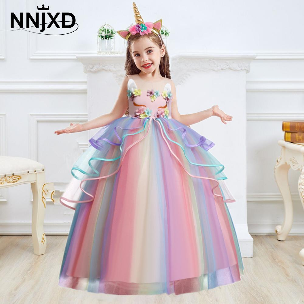 2018 new children s costumes sixty one high end custom flower girl dresses 2 14year gift children s performing princess dress Kids Unicorn Dress for Girls Flower Appliques Ball Gown Little Girl Princess Dresses Elegant Party Costumes Children Clothing