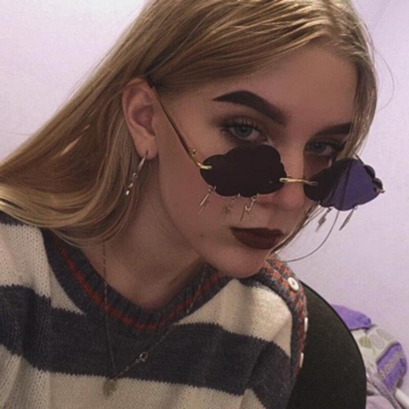 Internet Celebrity Recommend Cloud Lightning Pendant Women's Sunglasses Rimless Decoration Sun Glass