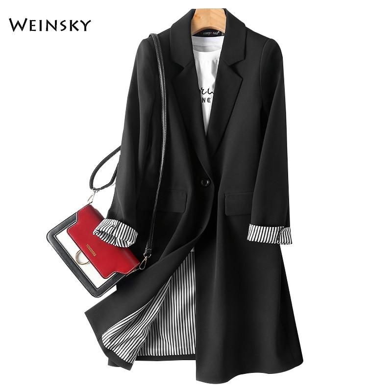 بدلة طويلة خريفية للنساء ، ملابس عمل عصرية جديدة ، مكتب ، سيدات ، أكمام طويلة ، بليزر ومعطف غير رسمي