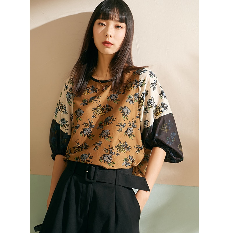 T-shirt Women Elegant Style 100% Patchwork Design O Neck Three-quarter Lantern Sleeve Lady Loose Casual Top New Fashion