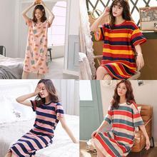 Short Sleeve Women Sleepwear Imitation Sleepwear Summer Nightgowns Home Cartoon Dress Lounge Sleep S