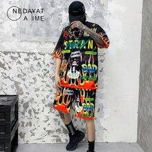 Hip Hop Men's Sets Cartoon Flame Graffiti Print T shirt +Shorts 2pc Tracksuit Suits Summer Short Sleeve Short Trouser Streetwear