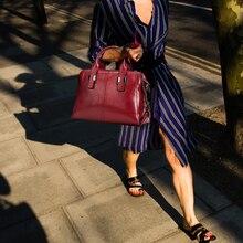 Женская сумка через плечо 100% натуральная кожа Черная сумка Леди повседневная сумка Кошелек Сумки Женские дизайнерские сумки через плечо по...