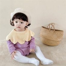 Yg0-2 Year Old Baby Girl's Large Petal Collar Contrast Knitting Wool One-piece Clothes Baby Bag Fart