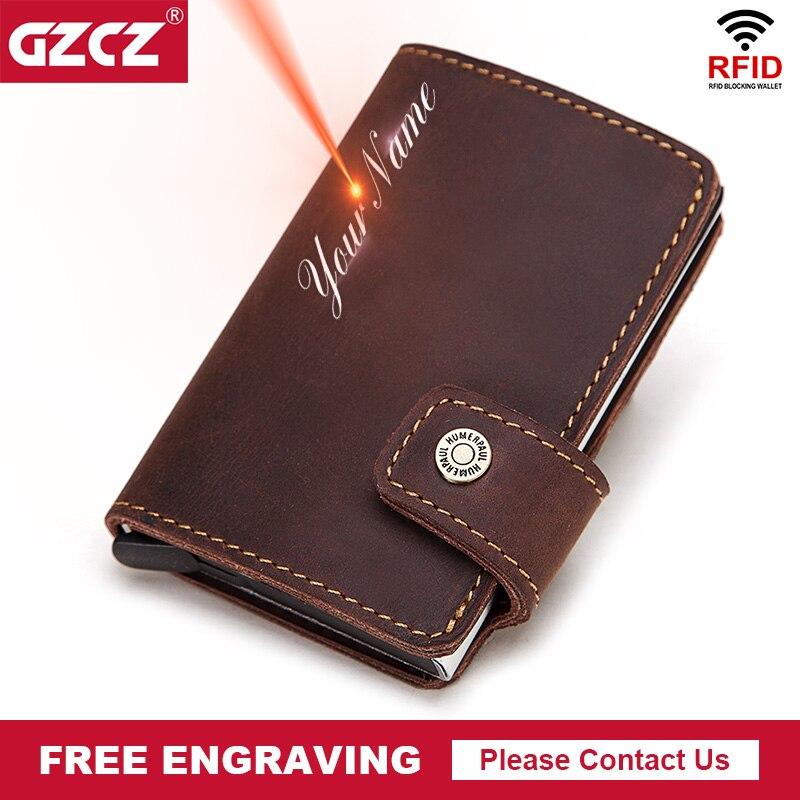 RFID męskie etui na karty kredytowe skórzany identyfikator firmy etui na karty Casual automatyczne aluminiowe etui na karty antykradzieżowe etui z miejscem na karty