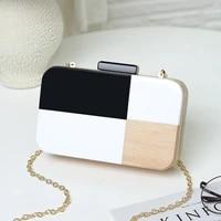 girl 2019 new simple black and white handbag with wood stitching handbag