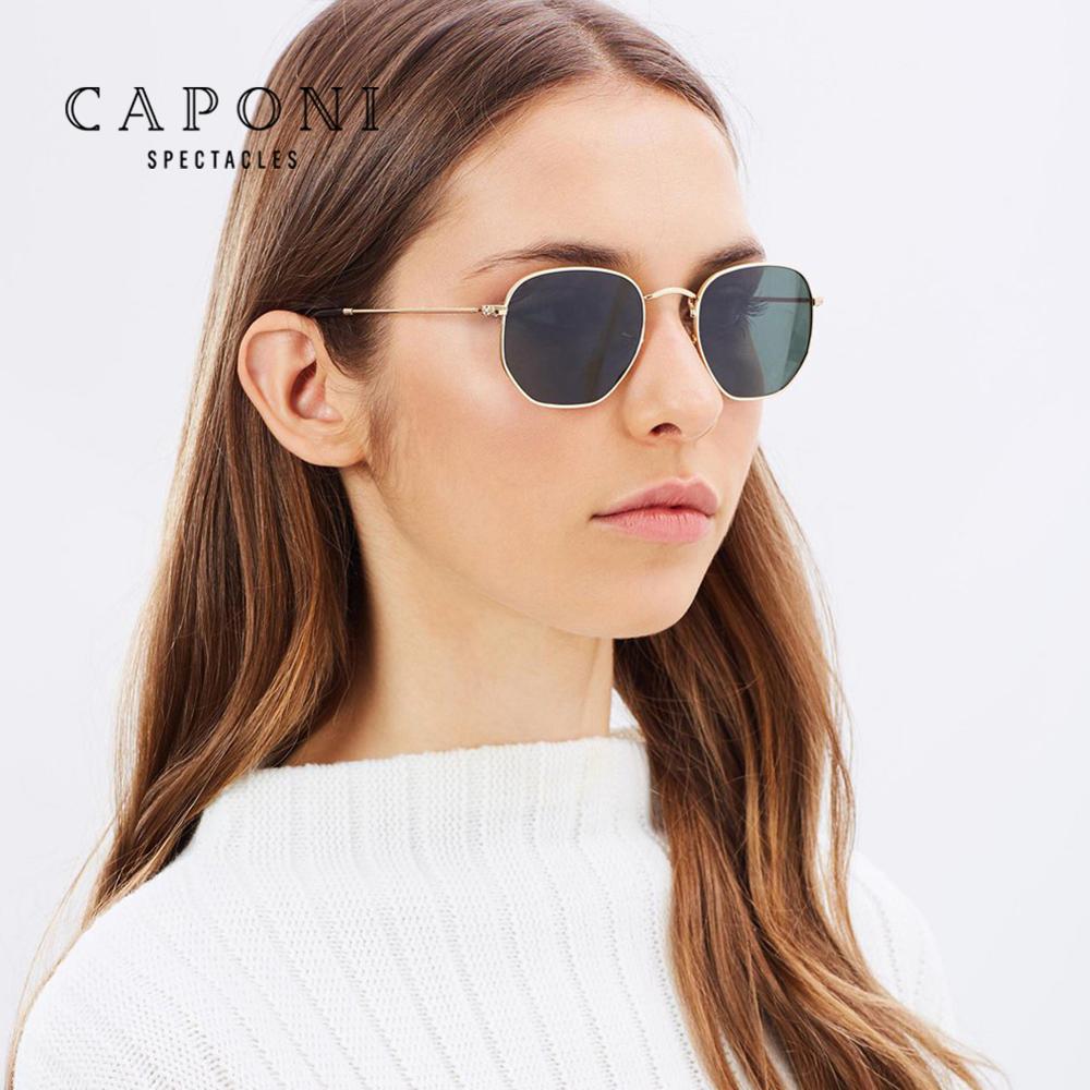 CAPONI 2020 Classic Reflective Sunglasses Men Shades for Women Hexagon Retro Sun Glasses With Box Metal Frame Eyewear CP1081