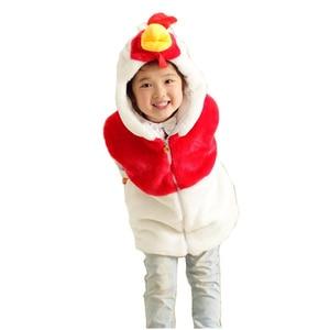 DOUBCHOW Cock Animal Vest Children's Cartoon Chicken Winter Fleece Hooded Kids Girls Boys Plush Coat Pockets Cosplay Clothing