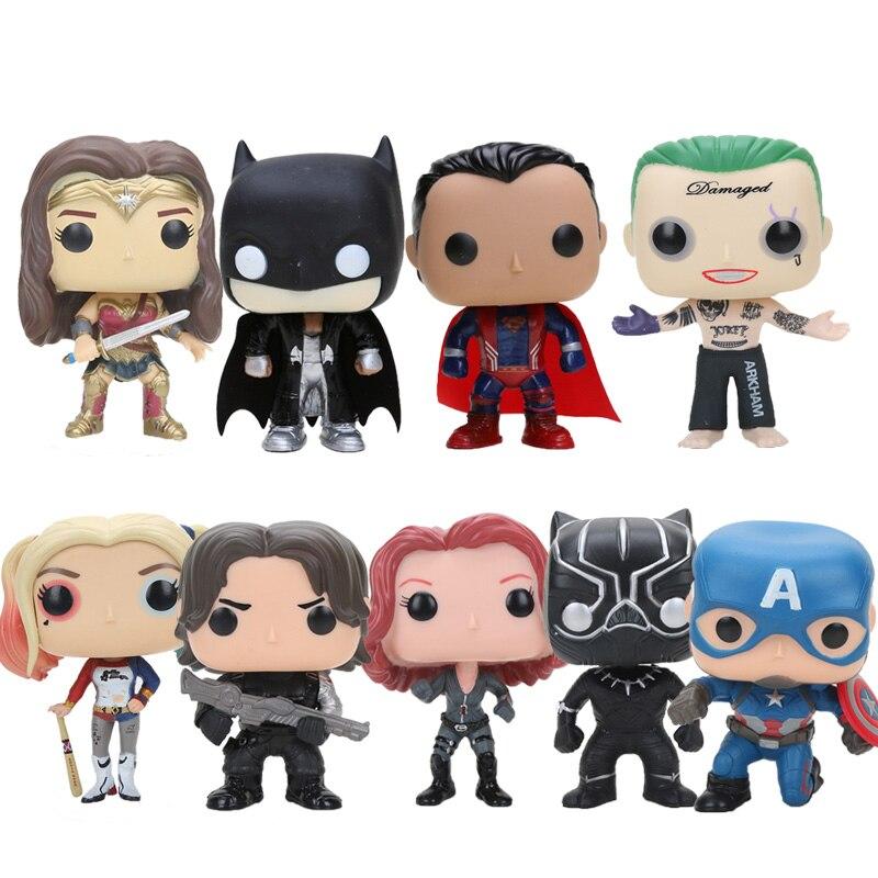10cm Q la versión vengadores superhéroe batman Capitán América Pantera Negra Viuda Negra suicidio escuadrón Joker y Quinn figura de juguete