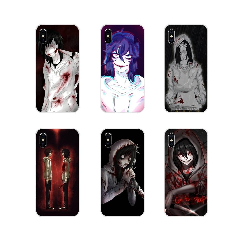 Transparent TPU Shell Case Jeff The Killer go to sleep anime For Samsung Galaxy S2 S3 S4 S5 Mini S6 S7 Edge S8 S9 S10E Lite Plus