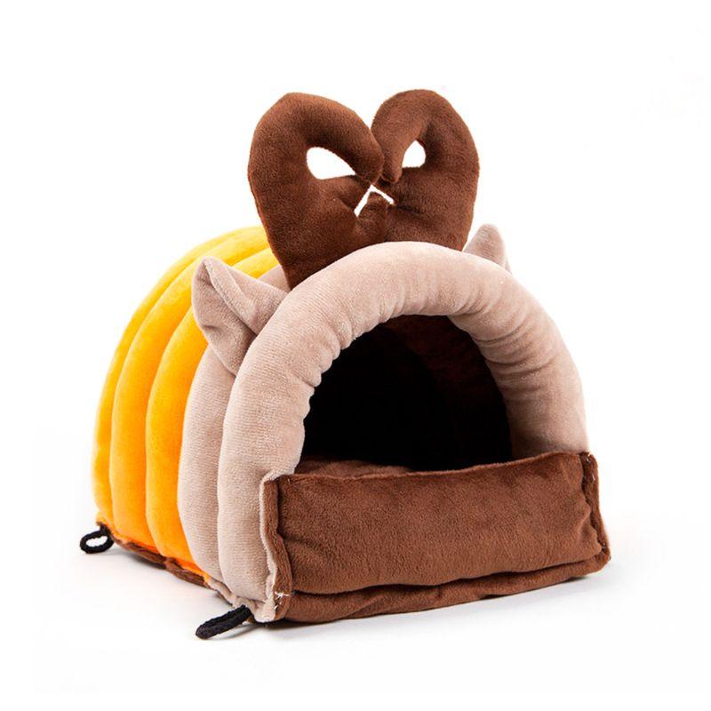 Winter Guinea Pig Bed Kennel Soft Warm Plush Hide-Out Pet House Nest for Rabbit K4UA