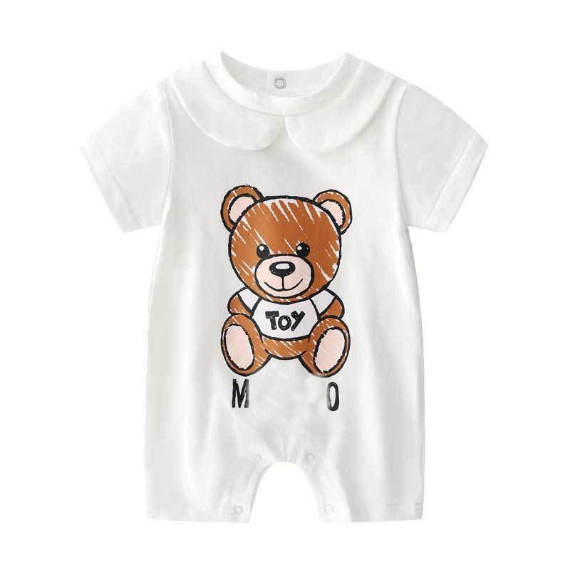 Roupa do bebê 100% Algodão Macacão de Bebê de Verão de Manga Curta Urso Dos Desenhos Animados Da Criança Gato Bonito Macacão Roupas de bebê Recém-nascido Terno Do Corpo