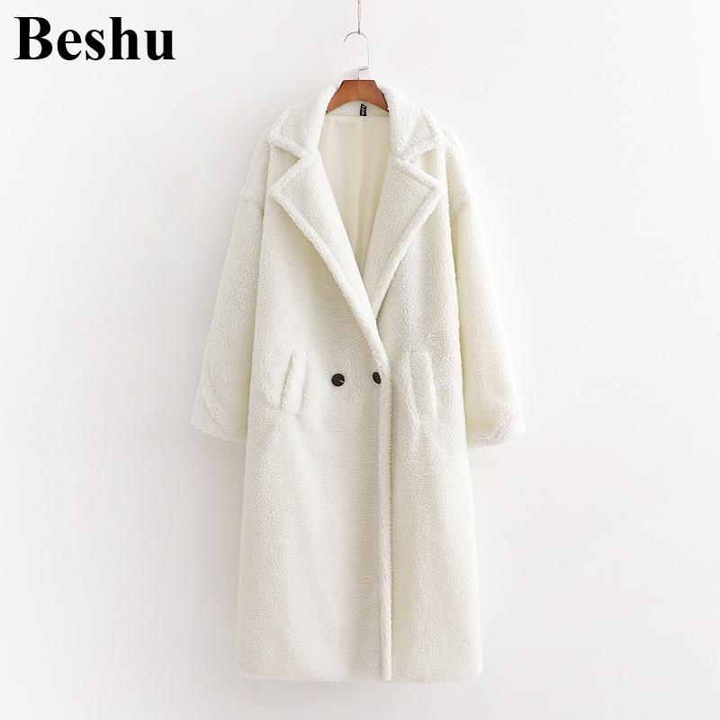 Za 2019 abrigo de invierno para mujer Casual suelto sólido largo abrigo de peluche para mujer Vintage de talla grande abrigo de peluche blanco para mujer