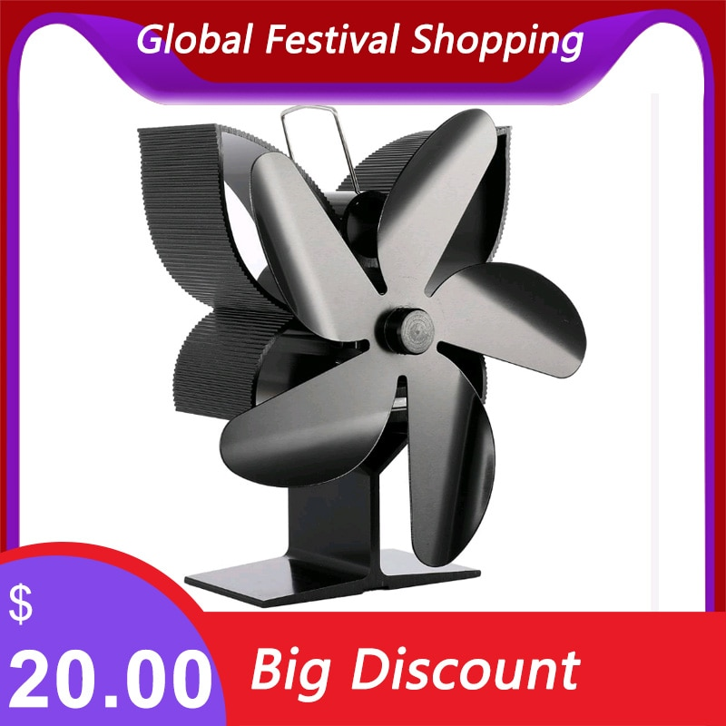 5 Blade Fireplace Fan Thermodynamic Heat Stove Flap Wood Stove Heating Stove Circulatory system Fan Grate On The Ear Heater