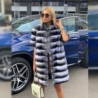 women winter real fur coats 2021 new 90cm long chinchilla color stand collar natural rex rabbit fur coat short sleeve overcoats