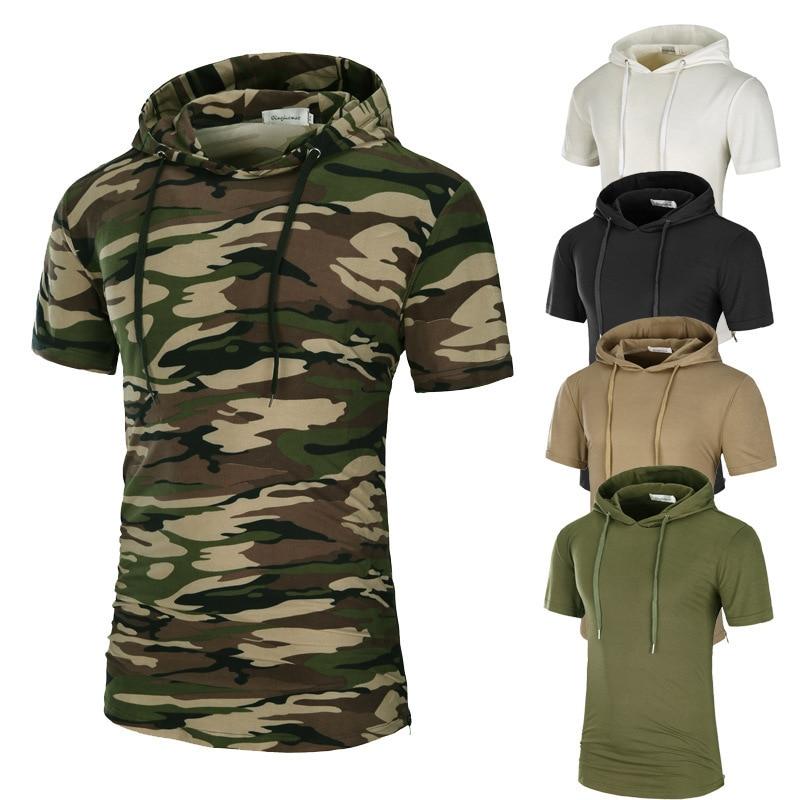 E-BAIHUI sudaderas con capucha de camuflaje para hombre, camiseta de manga corta, camisetas de gran tamaño para hombre, sudadera de hip hop, marca Drwastring, camiseta con capucha QT053